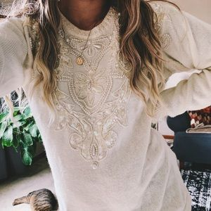 Vintage intricate beaded cream white sweater p3